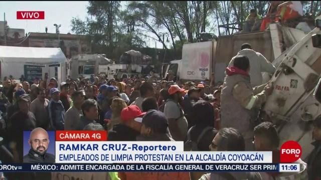 empleados de limpia protestan en la alcaldia coyoacan en cdmx