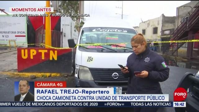 FOTO: 19 enero 2020, fallece pasajero tras choque entre camioneta y unidad del transporte publico en neza