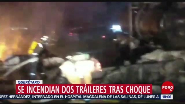 FOTO: 11 enero 2020, fallece un conductor tras choque de traileres en queretaro