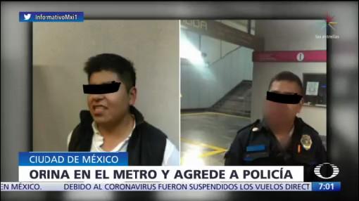 joven muerde la nariz a policia del metro