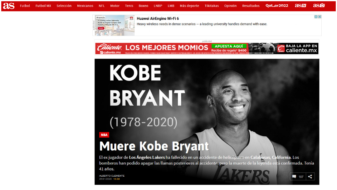 La prensa española dio detalles de la muerte de Kobe Bryant