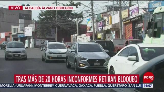 FOTO: Tras 20 horas de bloqueo, manifestantes que exigen seguridad liberan avenida La Águilas, en la alcaldía Álvaro Obregón liberan avenida las aguilas tras 20 horas de bloqueo