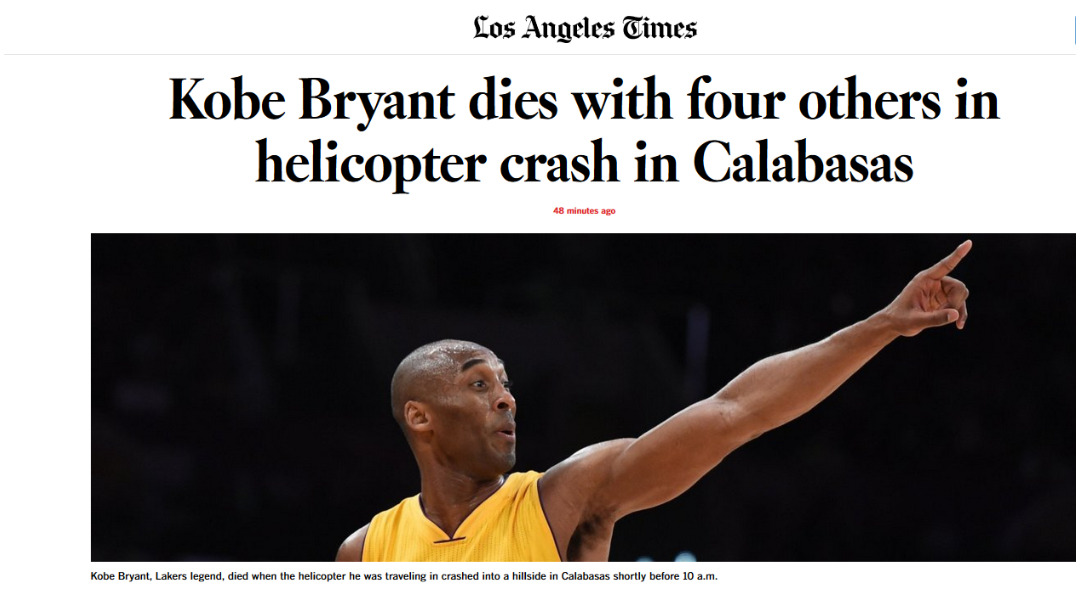 Los Angeles Times informó sobre la muerte de Kobe Bryant