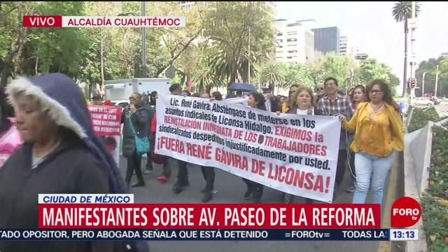 FOTO: manifestantes caminan sobre paseo de la reforma cdmx