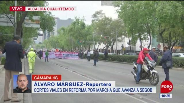 manifestantes electricistas marchan en paseo de la reforma