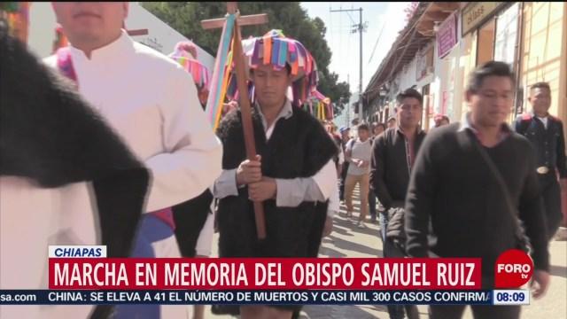 FOTO: 26 enero 2020, marchan indigenas de chiapas para recordar al obispo samuel ruiz