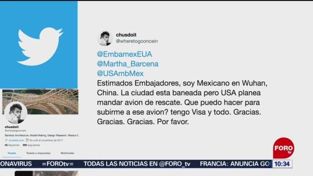 FOTO: 26 enero 2020, mexicano pide ayuda a sre para salir de wuhan china