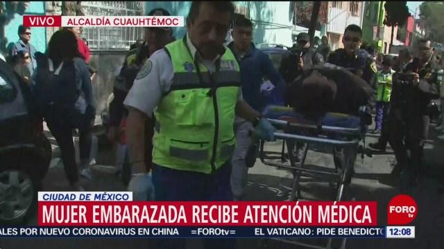 mujer embarazada cae durante manifestacion en san antonio abad cdmx