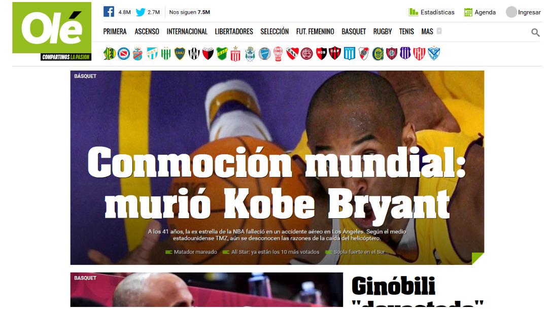 La prensa argentina informó sobre la muerte de Kobe Bryant