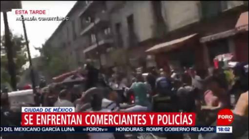 FOTO: 18 enero 2020, policias y comerciantes se enfrentan en calles del centro historico de la cdmx