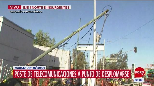 poste de telecomunicaciones a punto de desplomarse en cdmx