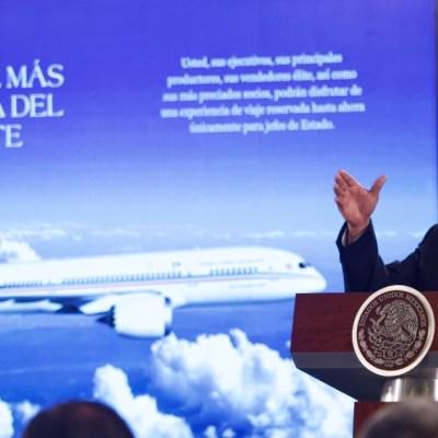 Foto: Presenta AMLO opciones para avión presidencial; una es rifarlo