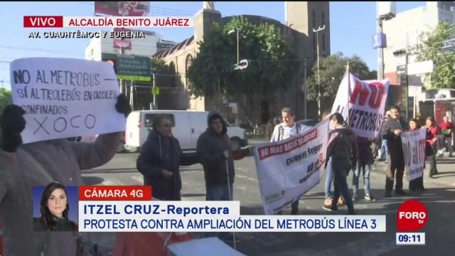 protesta contra ampliacion de la linea 3 del metrobus