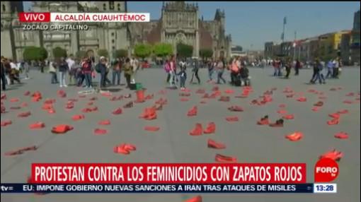 FOTO: 11 enero 2020, Autoridades de Torreón en Coahuila piden no revictimizar a los niños tras la balacera registrada en escuela de Torreón protestan con zapatos rojos contra feminicidios en la cdmx