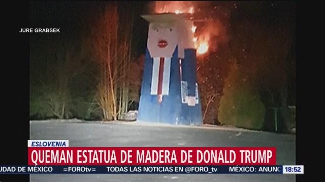 FOTO: queman estatua de madera de trump en eslovenia