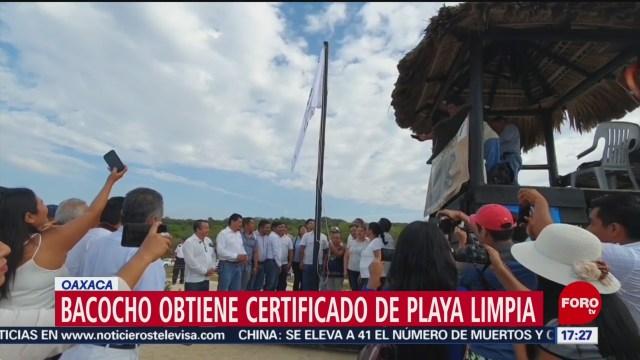 FOTO: 25 enero 2020, reconocen playa de oaxaca con certificado de playa limpia