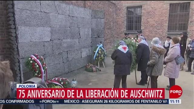 se conmemora el 75 aniversario de la liberacion de auschwitz en polonia