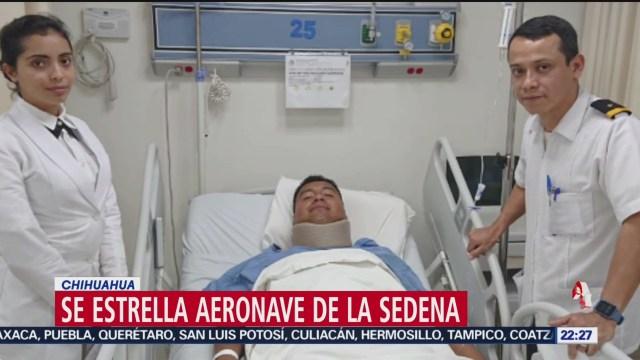 FOTO: 19 enero 2020, se estrellaaeronave de la sedena en chihuahua hay cuatro heridos