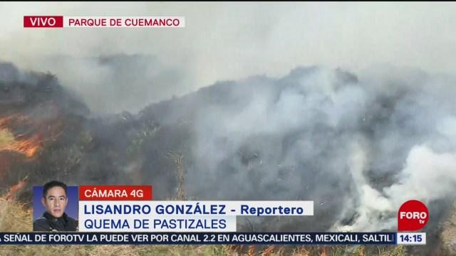 FOTO: se queman pastizales en cuemanco