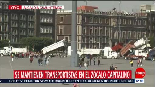 transportistas se concentran en el zocalo de la ciudad de mexico
