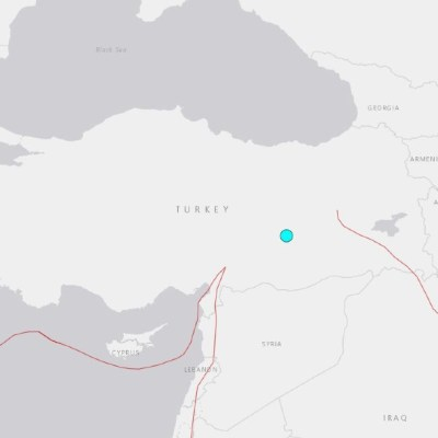 Foto: El terremoto ocurrió sobre las 18.00 GMT y el epicentro se halla cerca de la localidad de Sivrice, el 24 de enero de 2020 (USGS)