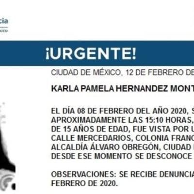 Activan Alerta Amber para Karla Pamela Hernández Montero, de 15 años