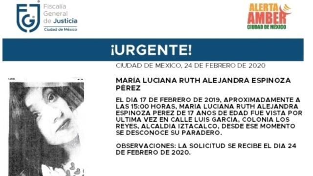 FOTO: Activan Alerta Amber para localizar a María Luciana Espinoza Pérez