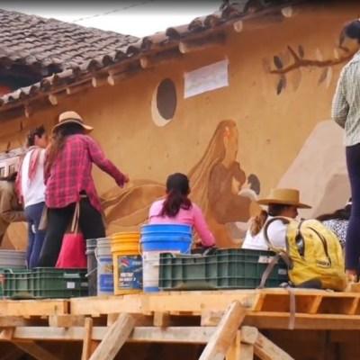 Indígenas zoques en Chiapas realizan arte en adobe
