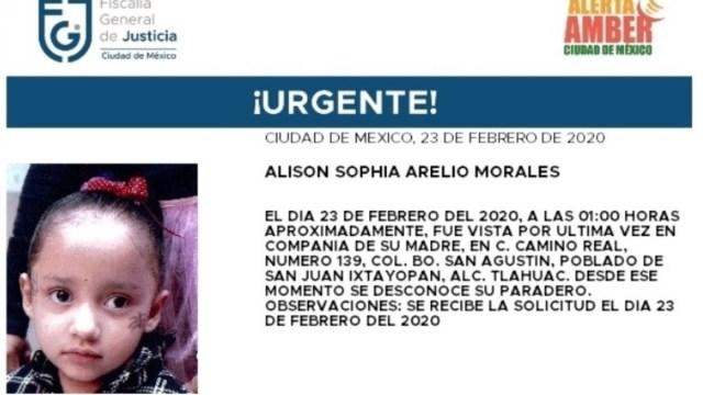 Alerta Amber: Alison Sophia Arelio desapareció en Tláhuac