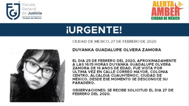 FOTO: Activan Alerta Amber para localizar a Duyanka Guadalupe Olvera Zamora, el 28 de febrero de 2020