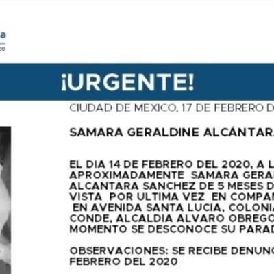 Activan Alerta Amber para localizar a Samara Geraldine Alcántara Sánchez