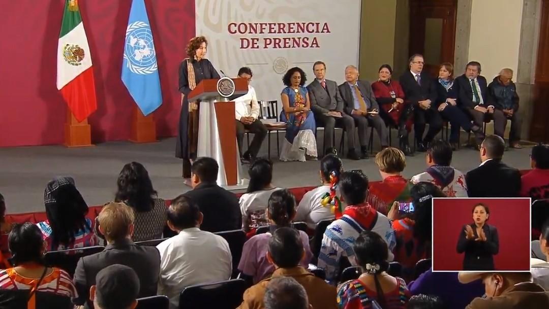 Foto: UNESCO y gobierno de AMLO firman convenio sobre pueblos indígenas
