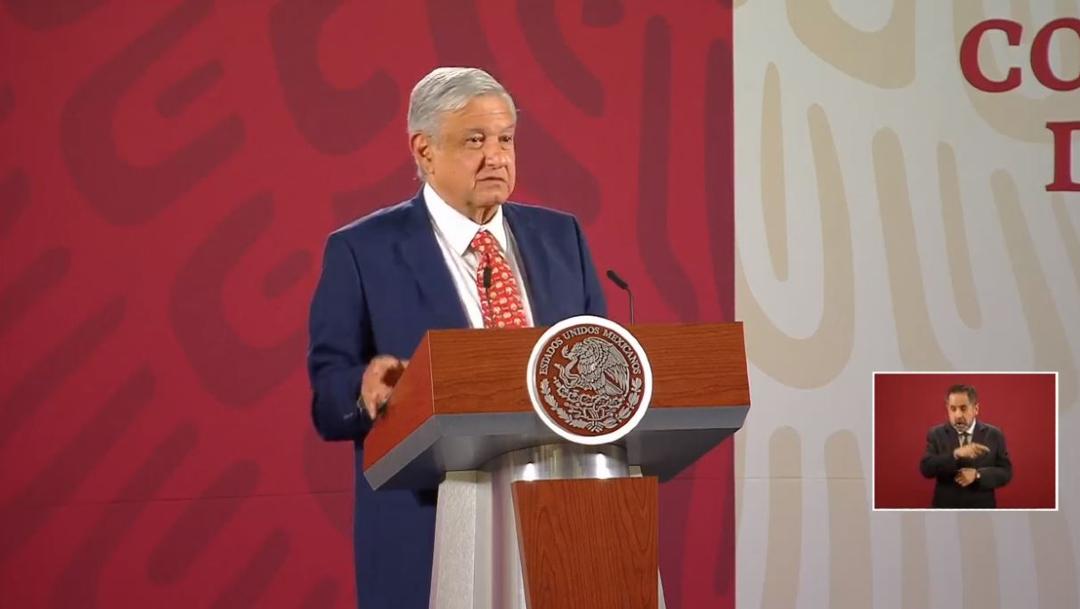 El presidente de México, Andrés Manuel López Obrador, en su conferencia matutina del 14 de febrero 2020.