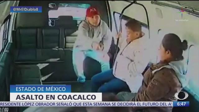 asaltan a pasajeros de transporte publico en coacalco edomex