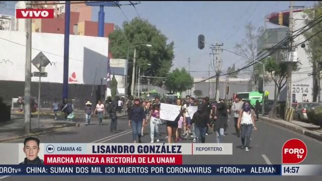 FOTO: avanza marcha contra violencia de genero rumbo a rectoria de la unam