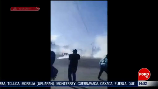 FOTO: 16 Febrero 2020, desalojan a normalistas tras bloqueo en tuxtla gutierrez chiapas