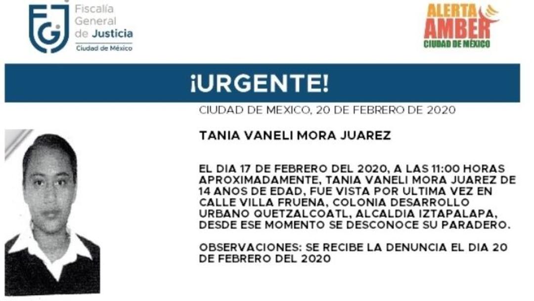 Foto: Activan Alerta Amber para localizar a Tania Vaneli Mora Juárez, 21 febrero 2020