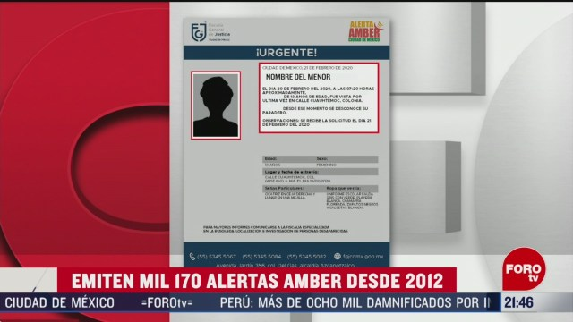 Foto: 2012 Han Emitido 1170 Alertas Amber México 21 Febrero 2020
