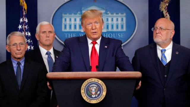 Foto:El presidente Donald Trump habla sobre el coronavirus, en la sala de prensa de la Casa Blanca, 29 febrero 2020