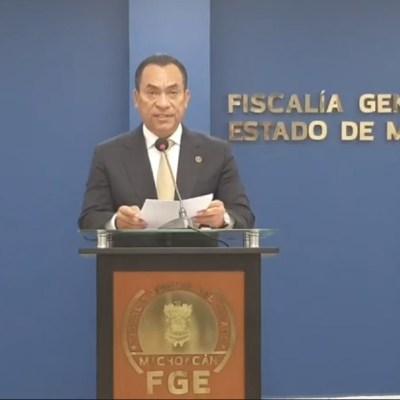 El titular de la Fiscalía de Michoacán, Adrián López Solís, ofreció una conferencia de prensa sobre una fosa clandestina en el municipio de Coeneo, 20 febrero 2020