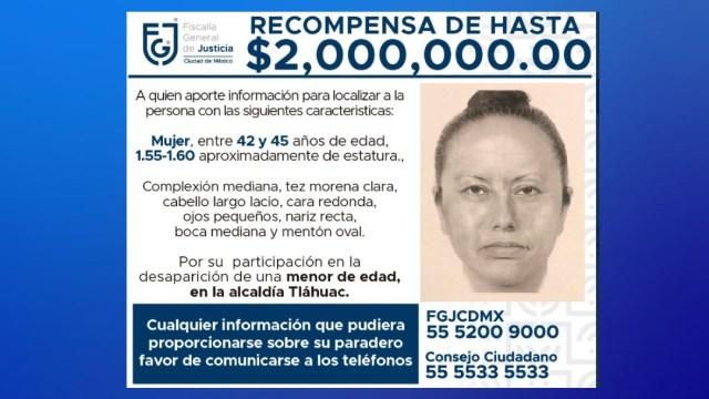 La Fiscalía de la CDMX difunde retrato hablado de mujer que se llevó a Fátima. (Foto: Twitter @FiscaliaCDMX)
