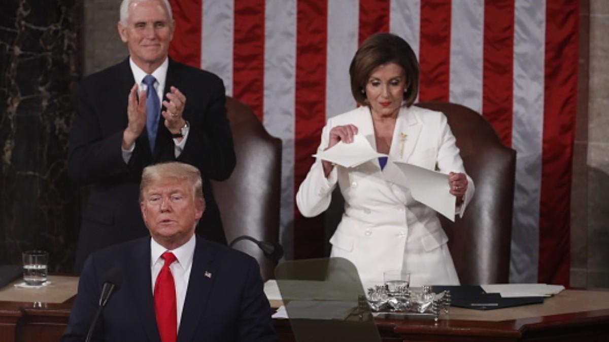 Foto: Nancy Pelosi rompe el discurso de Trump ante el Congreso de Estados Unidos. Getty Images