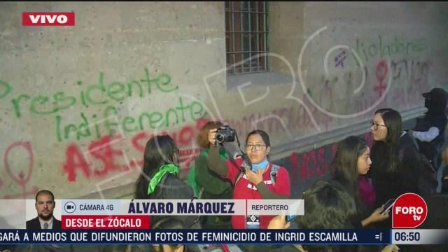 grupo feminista realizan pintas frente a entrada mariana de palacio nacional