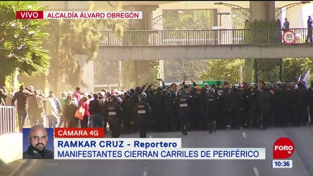 manifestantes cierran carriles centrales de periferico