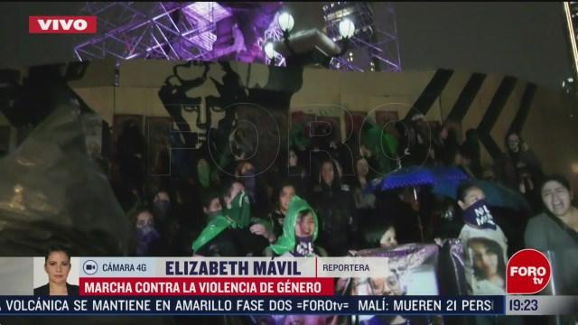 Foto: Manifestantes Violencia Género Llegan Ángel Independencia 14 Febrero 2020