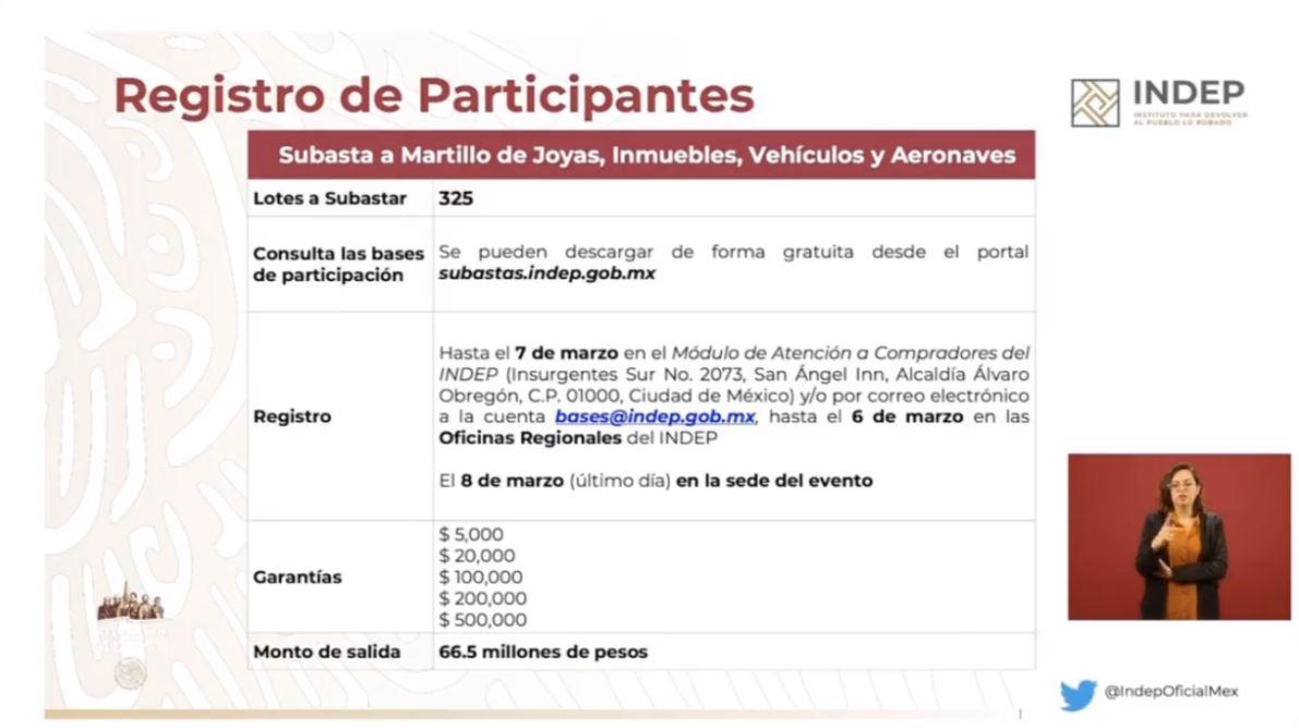 Foto: Registro para la subasta del 8 de marzo del 2020