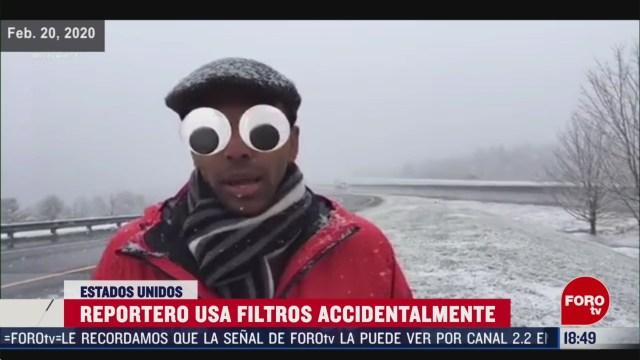 FOTO: reportero activa filtros accidentalmente en transmision en vivo