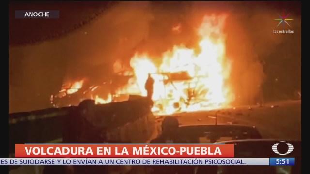 se incendia vehiculo en la autopista mexico puebla