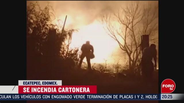 Foto: Incendio Cartonera Ecatepec Edomex Hoy 20 Febrero 2020