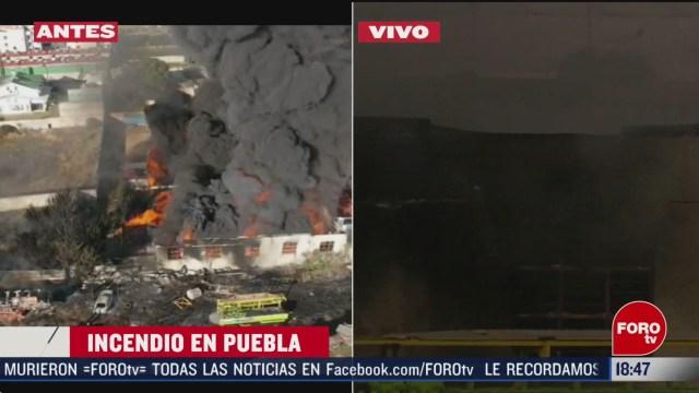 FOTO: se registra incendio en fabrica de puebla